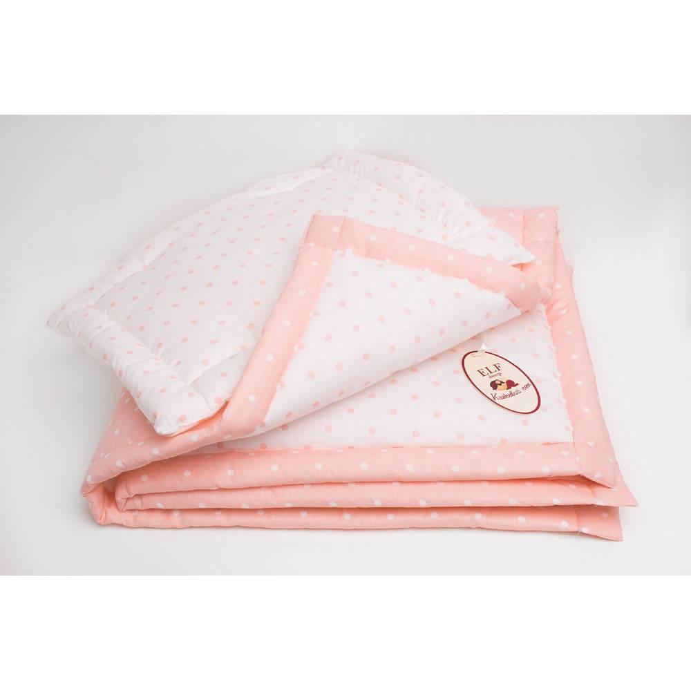 Комплект стеганный белый с розовими горошками