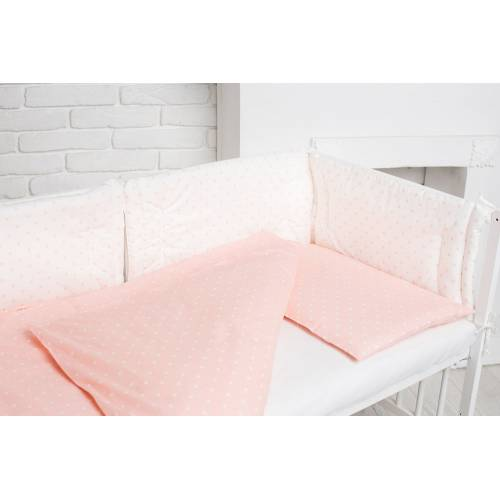 Сменный комплект розовый горошек белый