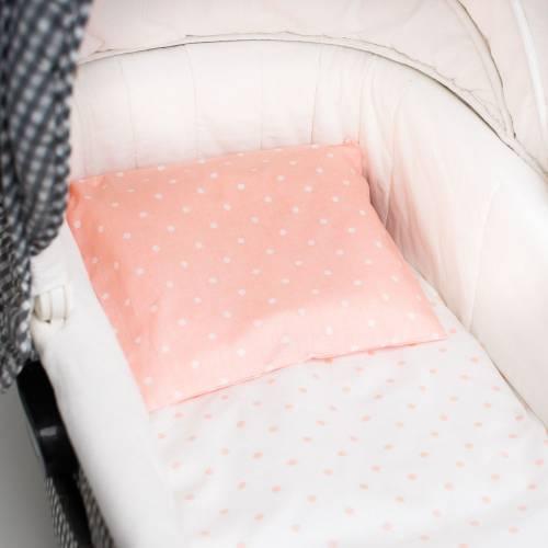 Подушки розовые кружочки белые
