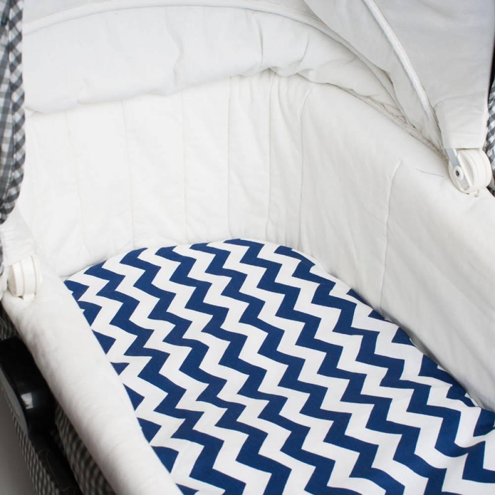 Простынь в коляску Синие волны