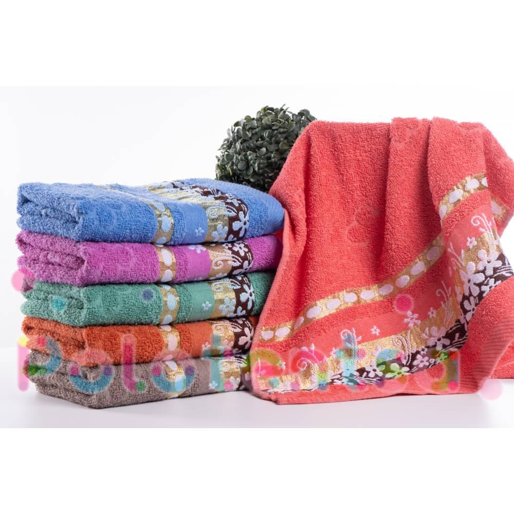 Полотенца банные Цветы кант