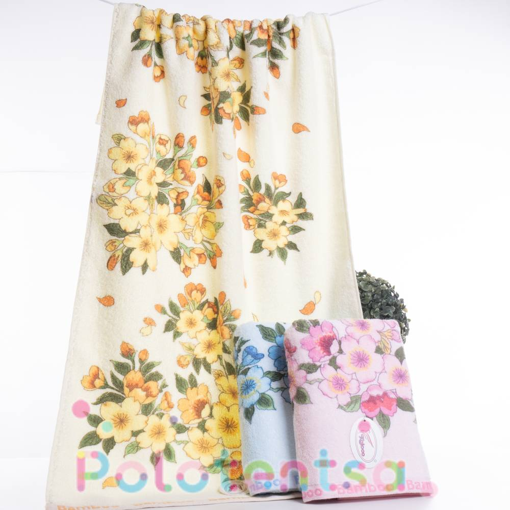 Полотенца банные Цветы bamboo