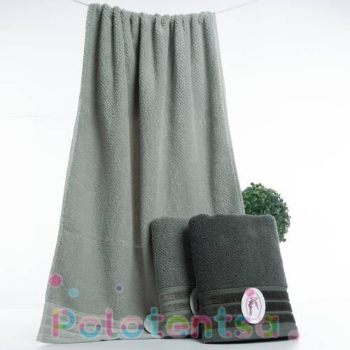 Полотенца для лица велюр полосы (зелёные)