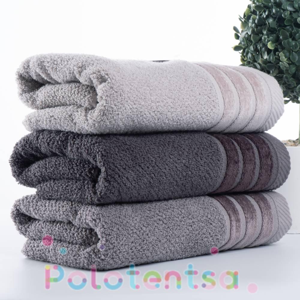Полотенца для лица велюр полосы (серые)