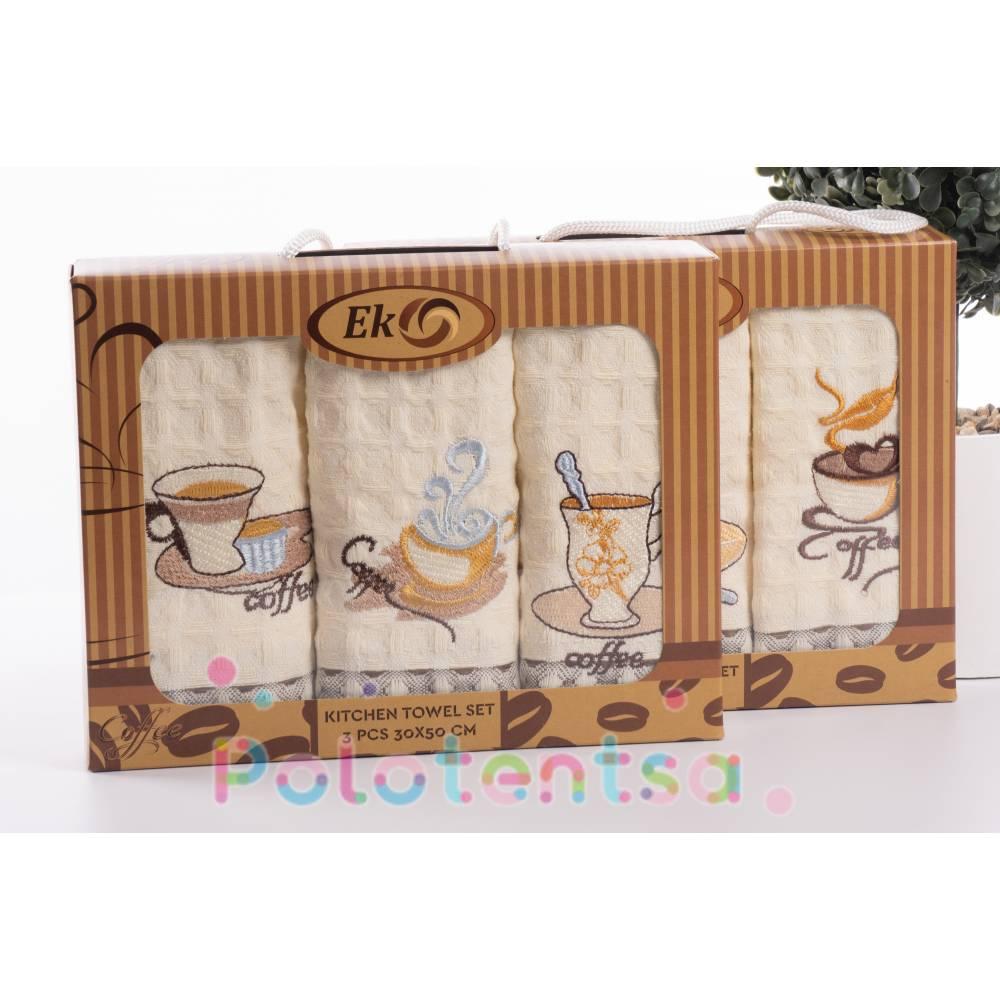 Набор вафельных полотенец для рук Кофе