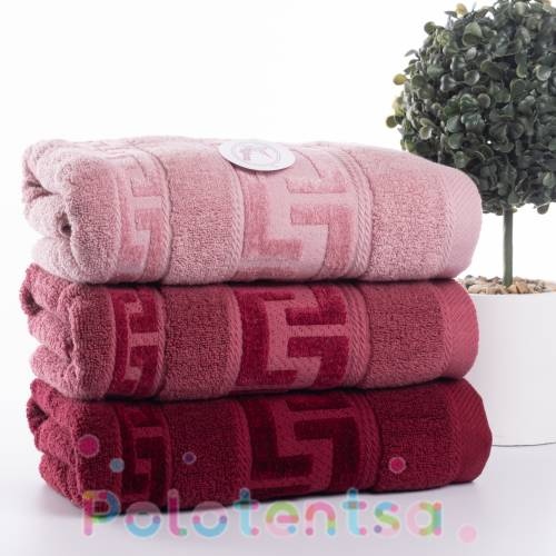 Полотенца банные Версаче бордовые