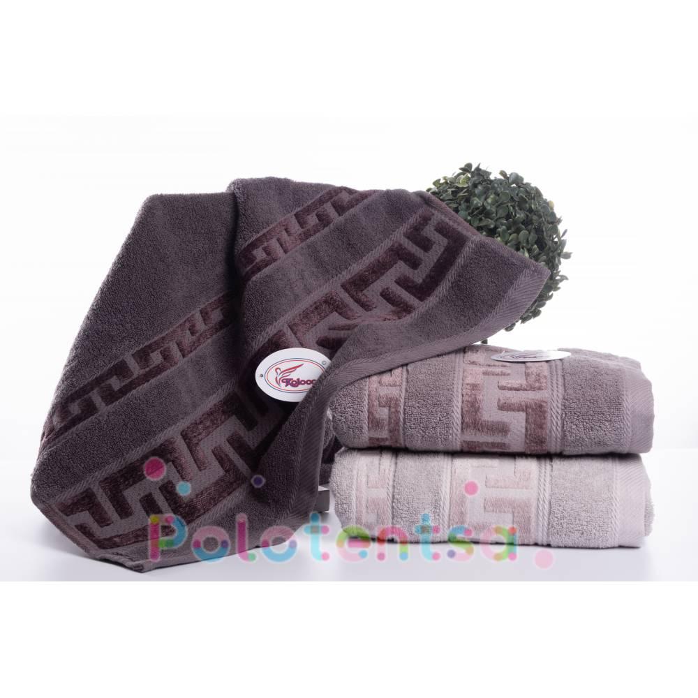 Полотенца банные Версаче серые