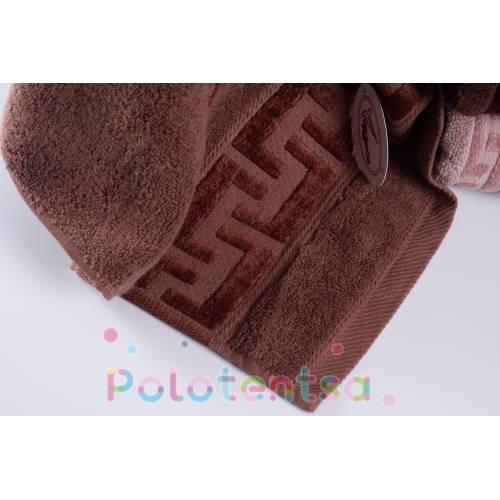 Полотенца банные Версаче коричневые