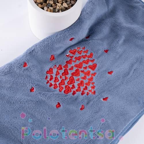 Полотенца банные микрофибра Сердца