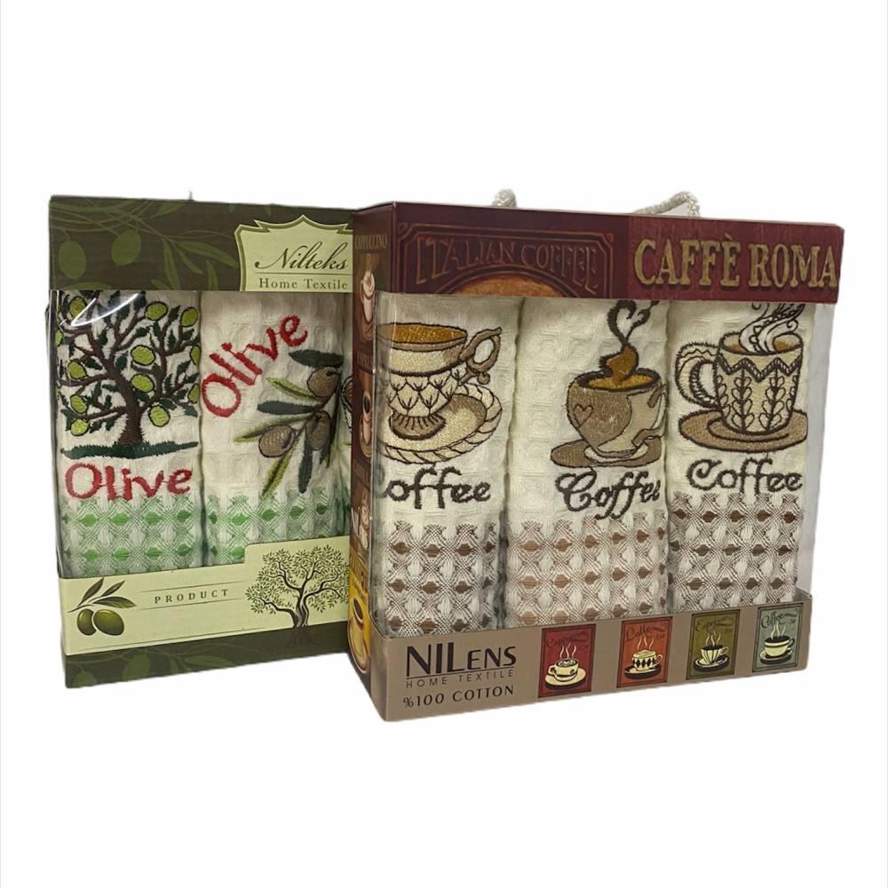 Набор турецких полотенец Nilteks кофе/оливка