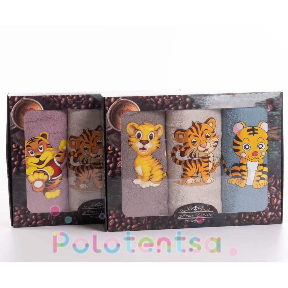 Набор полотенец микрофибра Тигр наклейка
