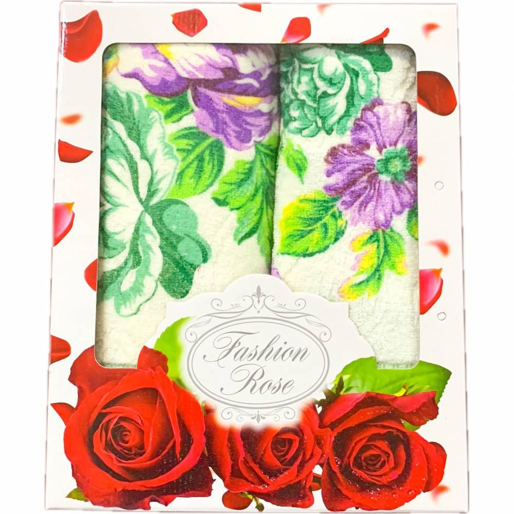 Набор полотенец цветы кант