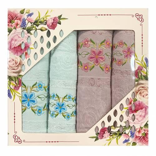 Набор полотенец велюровые с бахромой