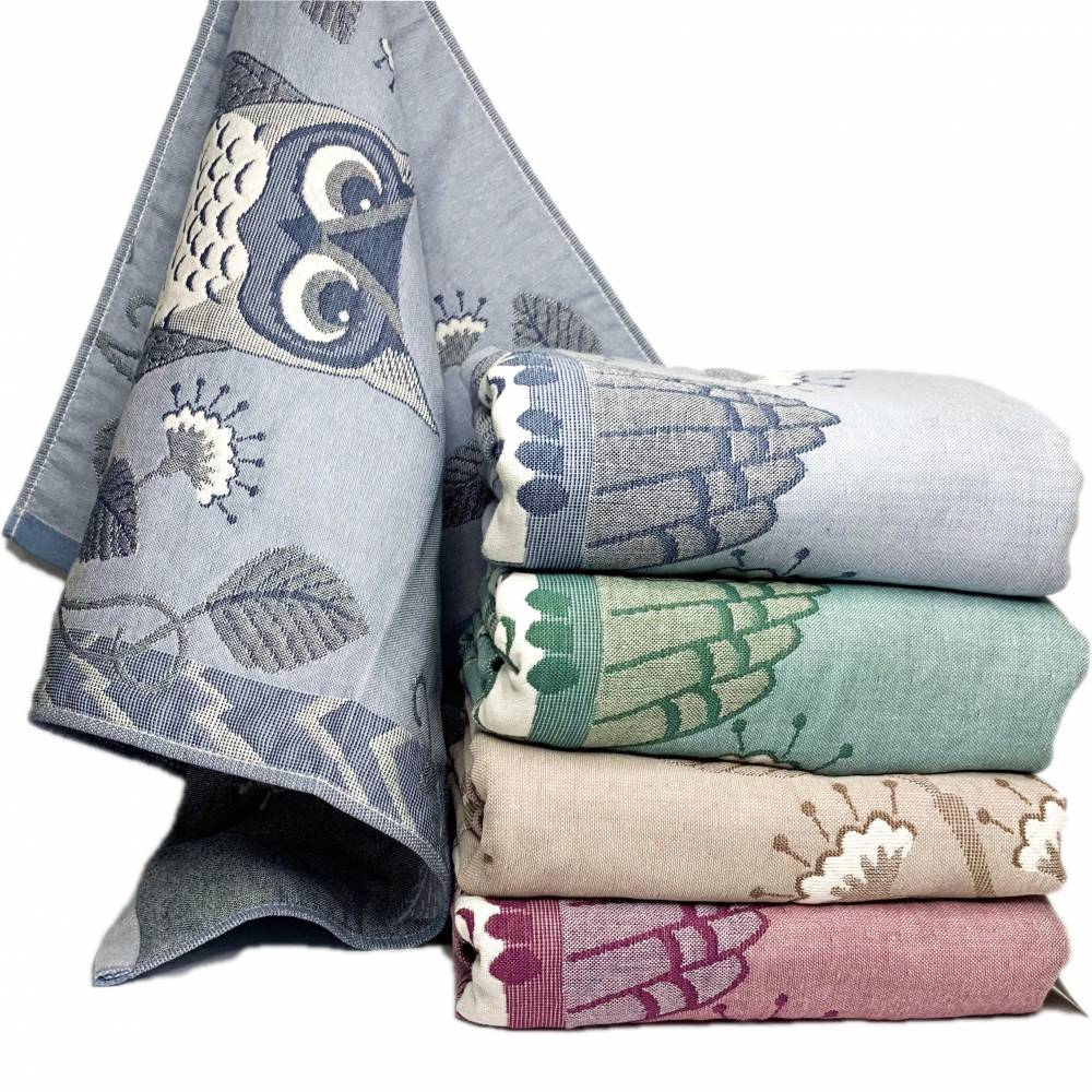 Полотенца банные лён Сова
