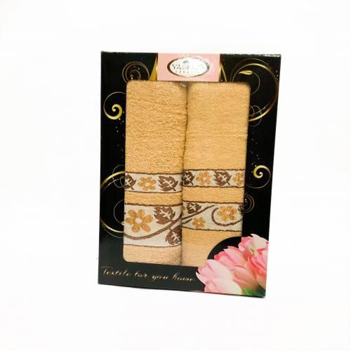 Набор полотенец золотой цветок