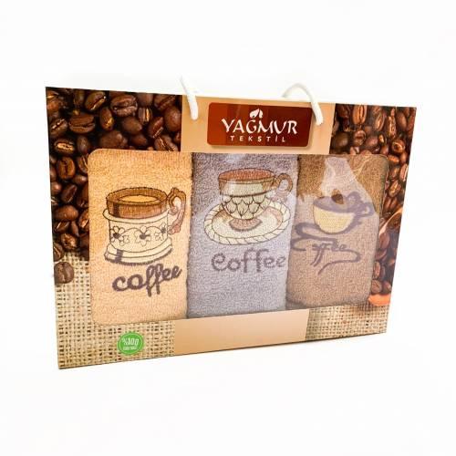 Набор кухонных полотенец кофе 3