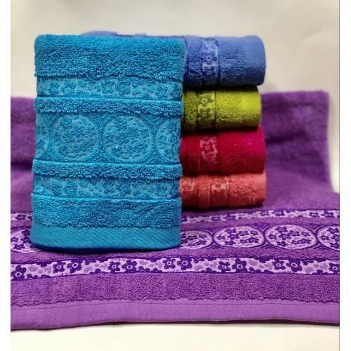 Банные полотенца Цветочки в кружочке