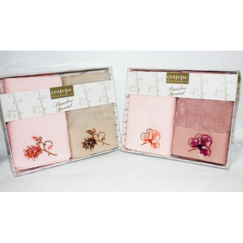 Набор турецких бамбукових полотенец 3D Цветок