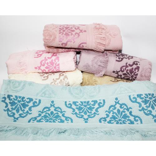 Лицевые турецкие полотенца Вензель - Бахрома