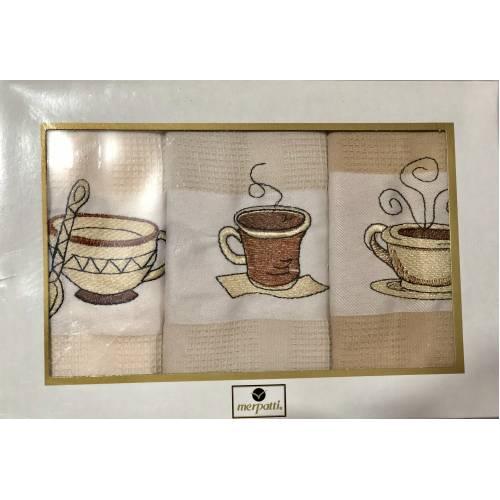 Набор турецких вафеоьных полотенец Кофе